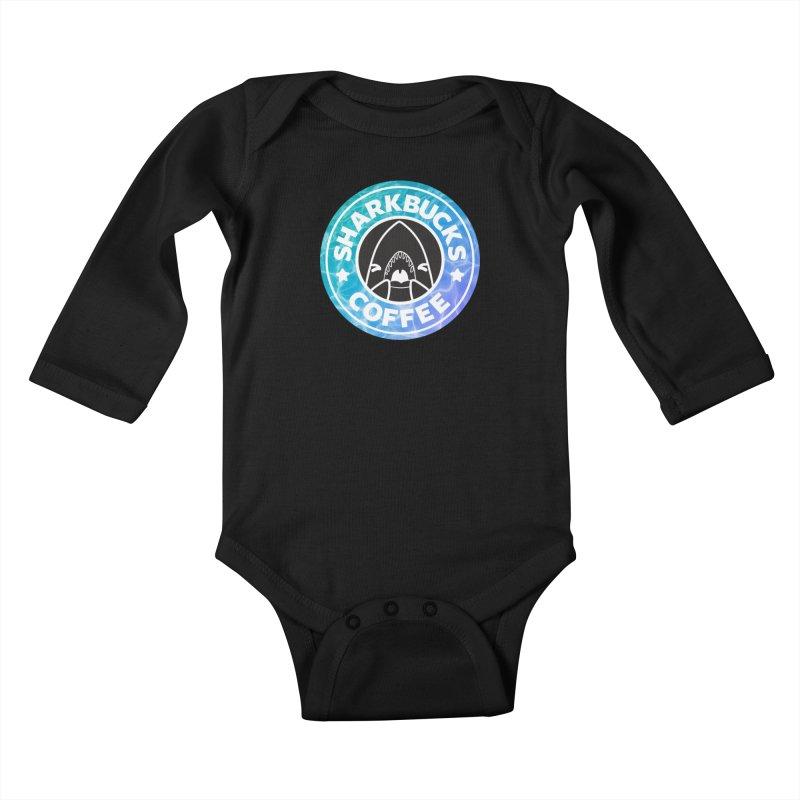 SHARKBUCKS (water) Kids Baby Longsleeve Bodysuit by Byte Size Treasure's Shop