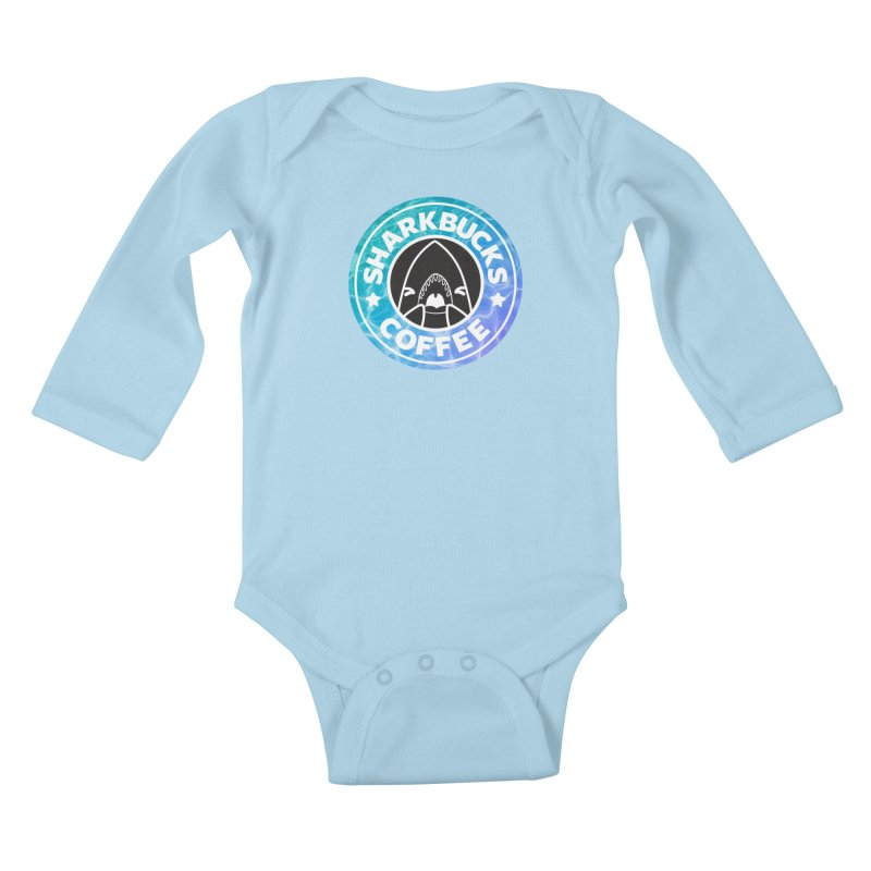 SHARKBUCKS (water) Kids Baby Longsleeve Bodysuit by Byte Size Treasure's Shop