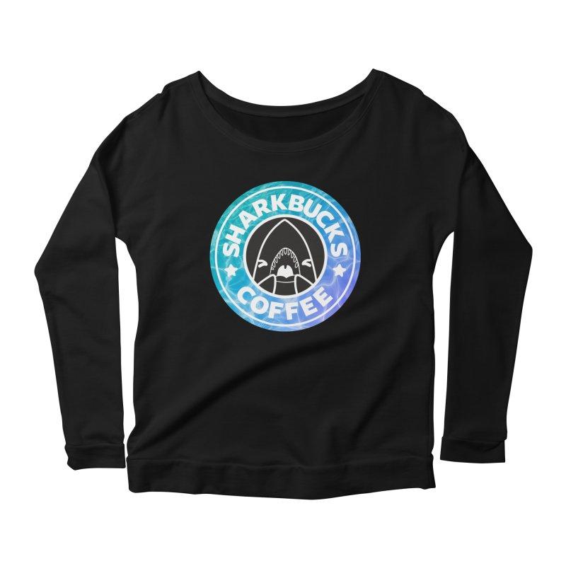 SHARKBUCKS (water) Women's Scoop Neck Longsleeve T-Shirt by Byte Size Treasure's Shop