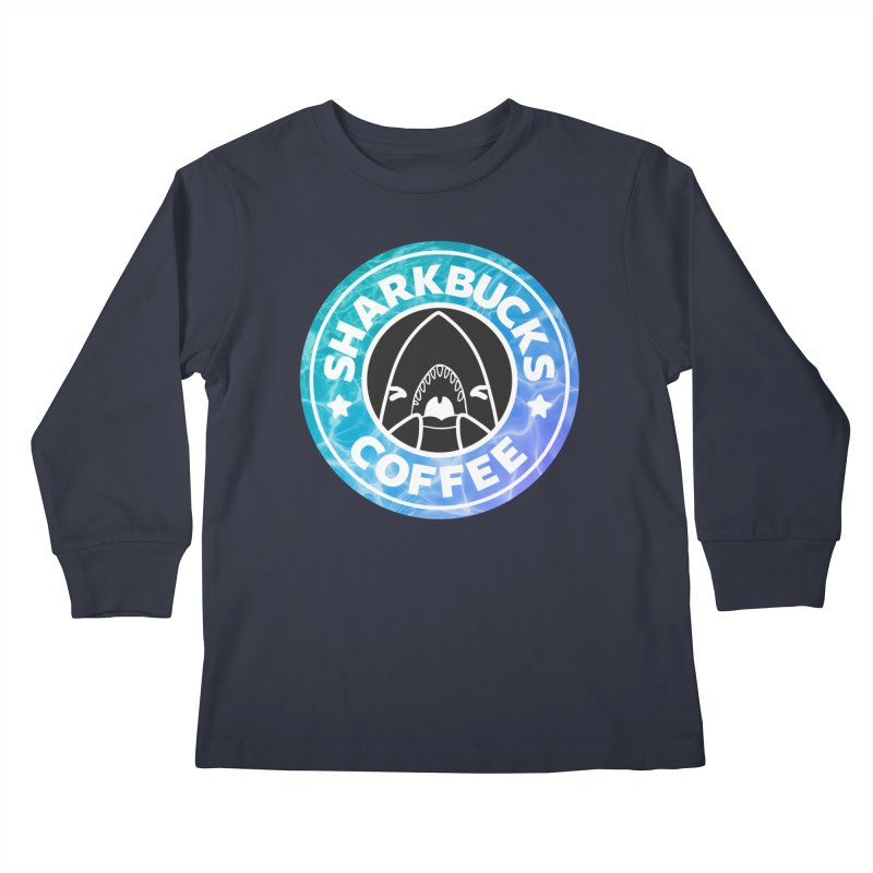 SHARKBUCKS (water) Kids Longsleeve T-Shirt by Byte Size Treasure's Shop