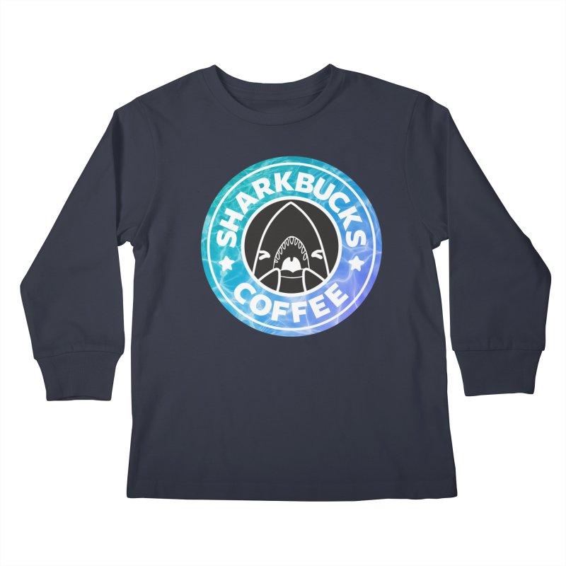 SHARKBUCKS (water) Kids Longsleeve T-Shirt by Byte Size Treasure's Shop
