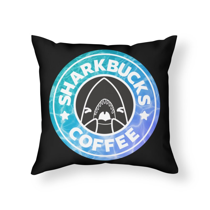 SHARKBUCKS (water) Home Throw Pillow by Byte Size Treasure's Shop