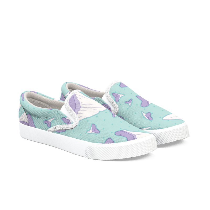 Shark Teeth // Beauty Bytes // Purple & Mint Women's Slip-On Shoes by Byte Size Treasure's Shop