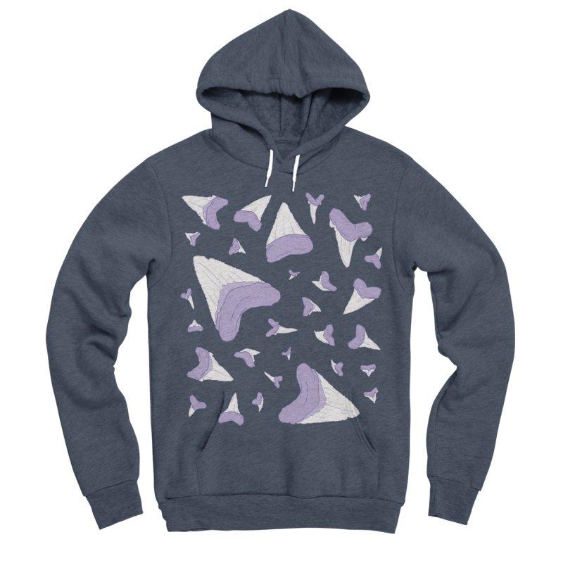 Shark Teeth // Beauty Bytes // Purple & Mint Men's Sponge Fleece Pullover Hoody by Byte Size Treasure's Shop