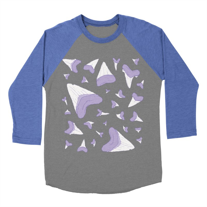 Shark Teeth // Beauty Bytes // Purple & Mint Men's Baseball Triblend Longsleeve T-Shirt by Byte Size Treasure's Shop