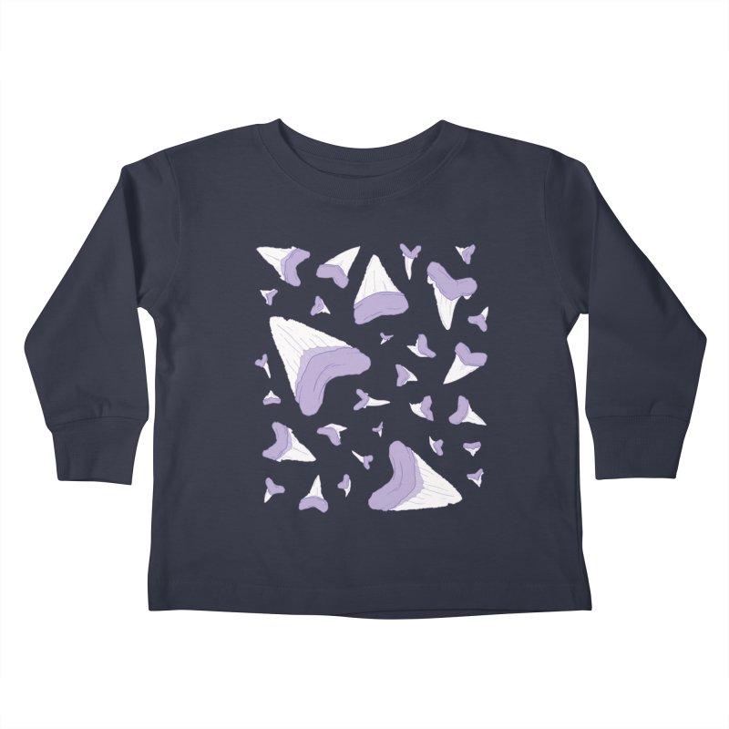 Shark Teeth // Beauty Bytes // Purple & Mint Kids Toddler Longsleeve T-Shirt by Byte Size Treasure's Shop