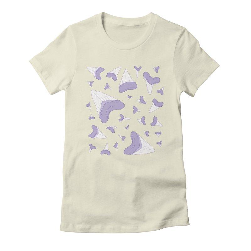 Shark Teeth // Beauty Bytes // Purple & Mint Women's Fitted T-Shirt by Byte Size Treasure's Shop