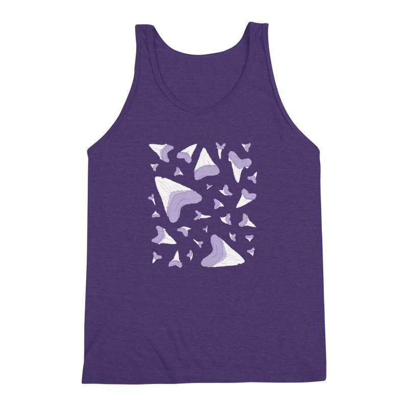 Shark Teeth // Beauty Bytes // Purple & Mint Men's Triblend Tank by Byte Size Treasure's Shop