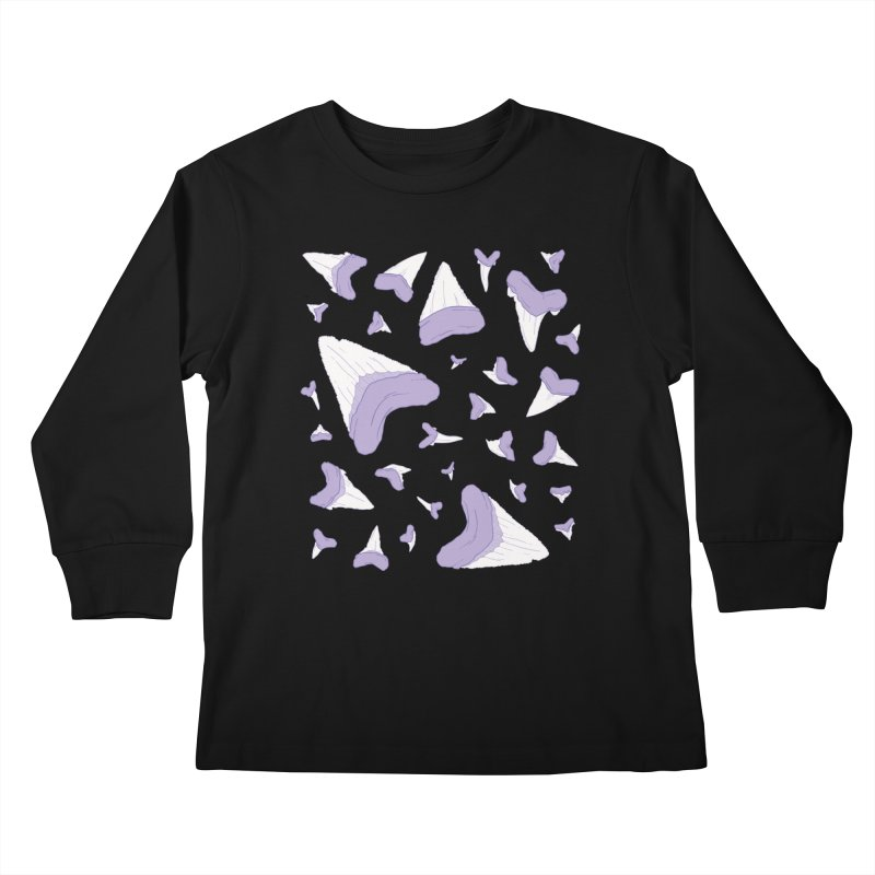 Shark Teeth // Beauty Bytes // Purple & Mint Kids Longsleeve T-Shirt by Byte Size Treasure's Shop