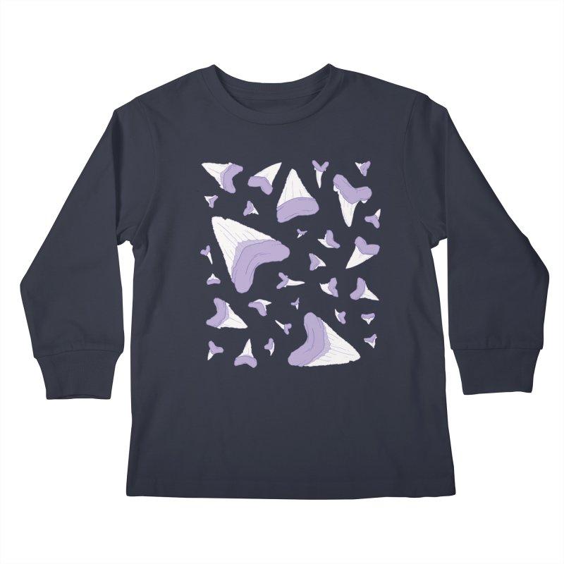 Shark Teeth // Beauty Bytes // Purple & Mint Kids Longsleeve T-Shirt by Byte Size Treasure's Shop