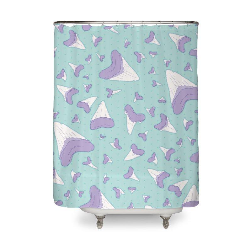 Shark Teeth // Beauty Bytes // Purple & Mint Home Shower Curtain by Byte Size Treasure's Shop