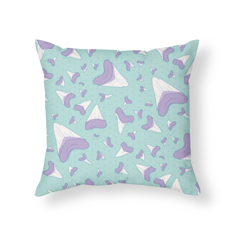 Shark Teeth // Beauty Bytes // Purple & Mint Home Throw Pillow by Byte Size Treasure's Shop