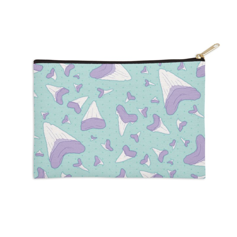 Shark Teeth // Beauty Bytes // Purple & Mint Accessories Zip Pouch by Byte Size Treasure's Shop