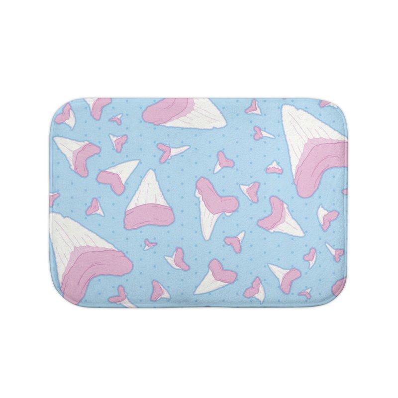 Shark Teeth // Beauty Bytes // Pink & Blue Home Bath Mat by Byte Size Treasure's Shop