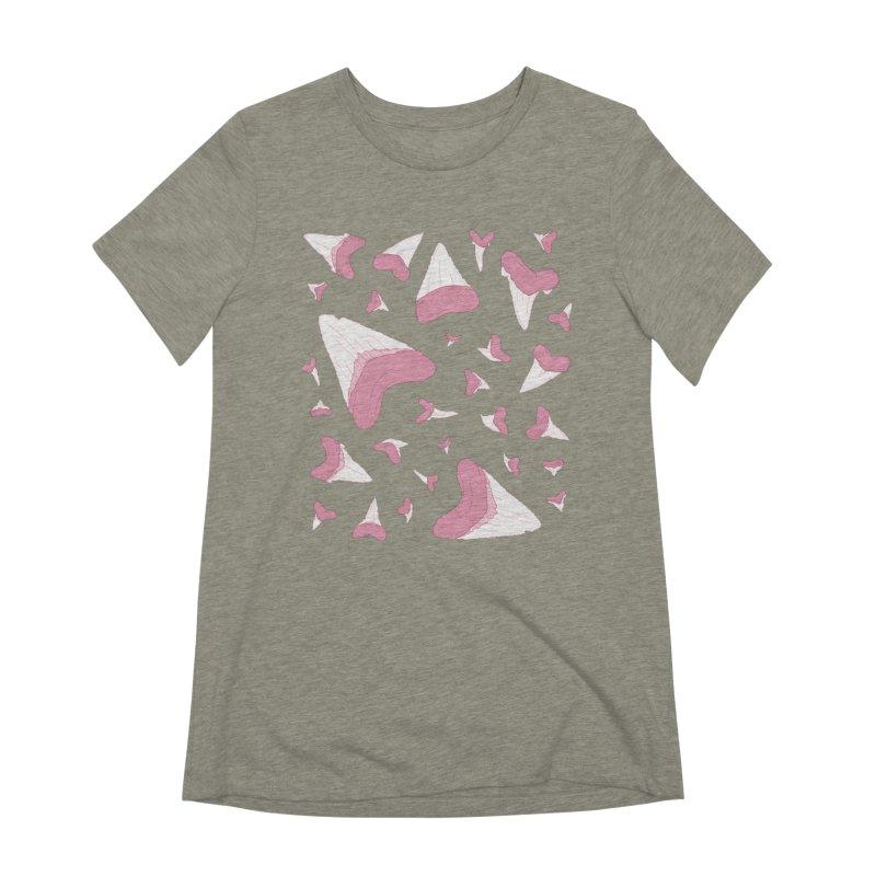 Shark Teeth // Beauty Bytes // Pink & Blue Women's Extra Soft T-Shirt by Byte Size Treasure's Shop
