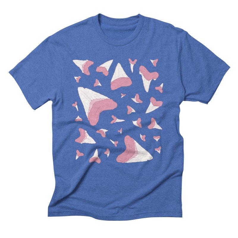 Shark Teeth // Beauty Bytes // Pink & Blue Men's Triblend T-Shirt by Byte Size Treasure's Shop