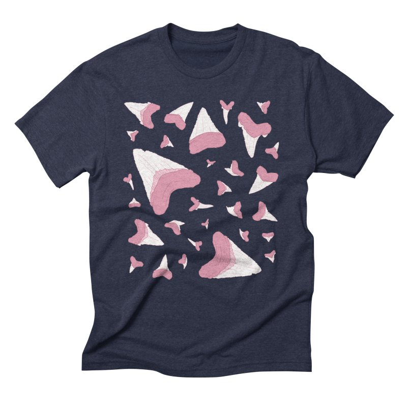 Shark Teeth // Beauty Bytes // Pink & Blue Men's Triblend T-Shirt by Byte Size Treasure's Shop