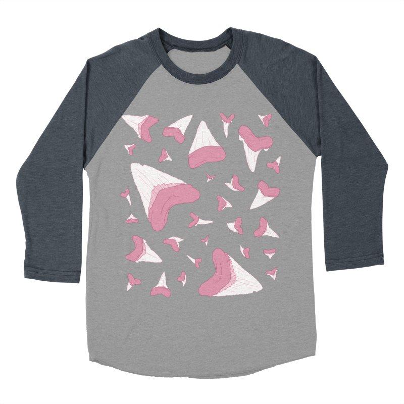 Shark Teeth // Beauty Bytes // Pink & Blue Men's Baseball Triblend Longsleeve T-Shirt by Byte Size Treasure's Shop