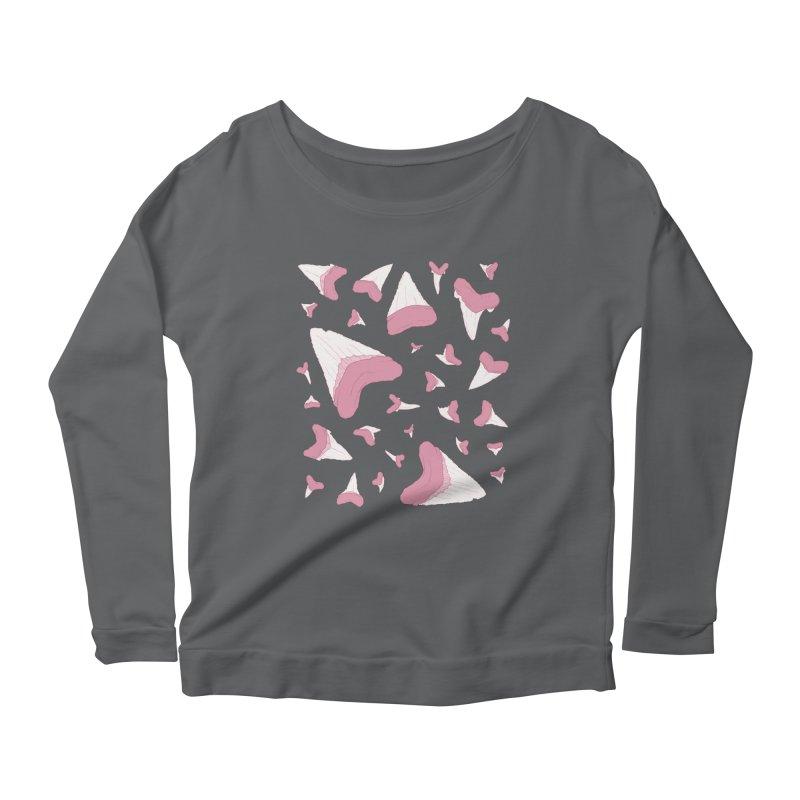 Shark Teeth // Beauty Bytes // Pink & Blue Women's Scoop Neck Longsleeve T-Shirt by Byte Size Treasure's Shop