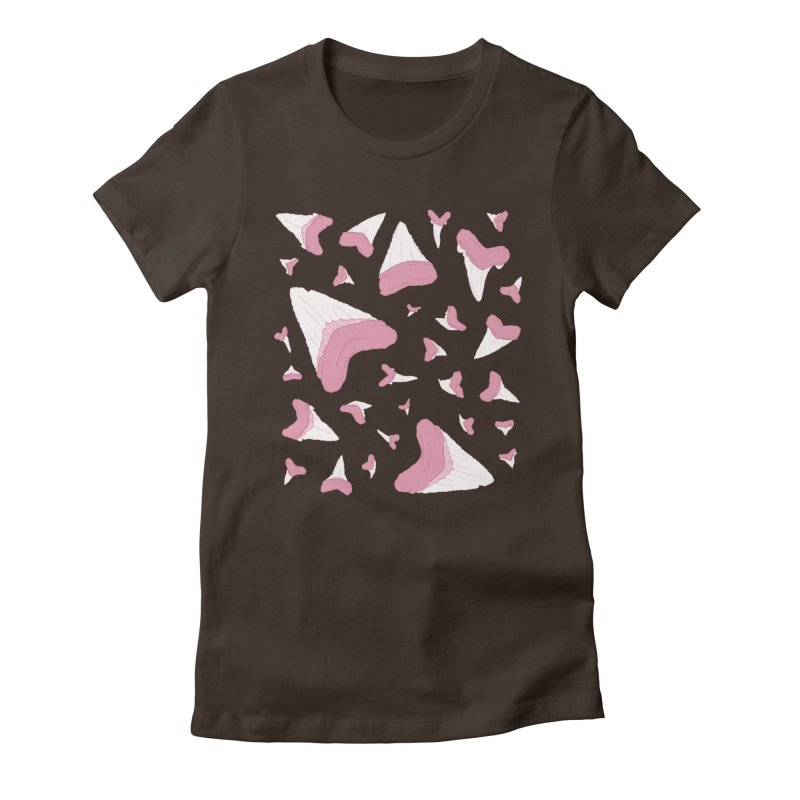 Shark Teeth // Beauty Bytes // Pink & Blue Women's Fitted T-Shirt by Byte Size Treasure's Shop