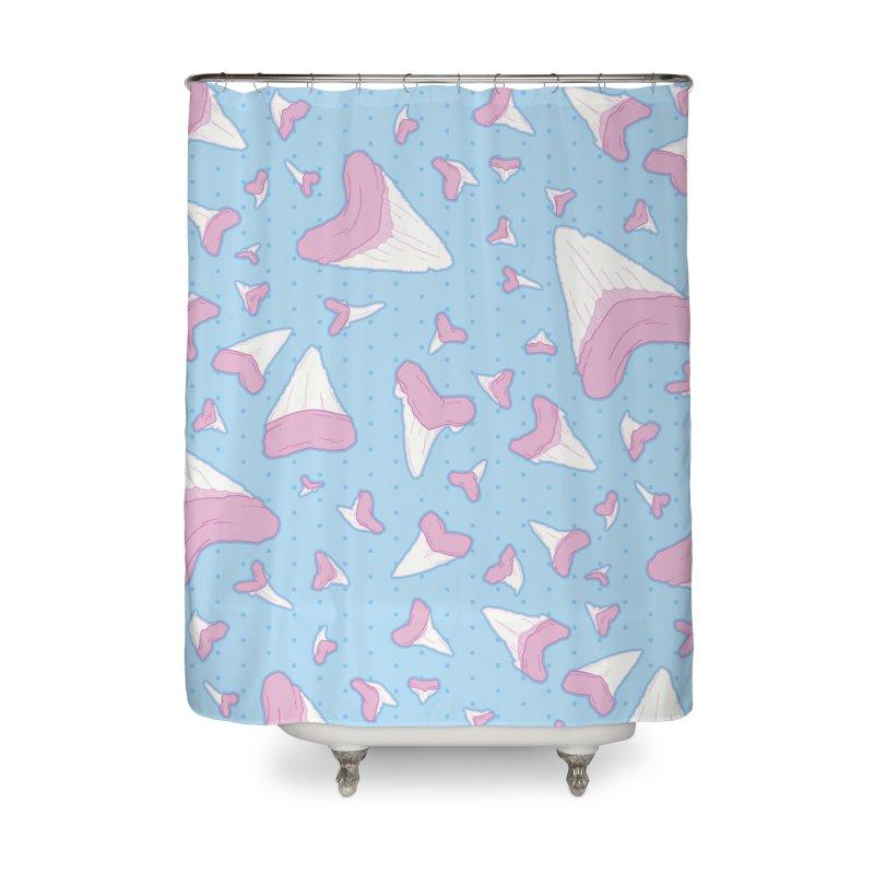 Shark Teeth // Beauty Bytes // Pink & Blue Home Shower Curtain by Byte Size Treasure's Shop
