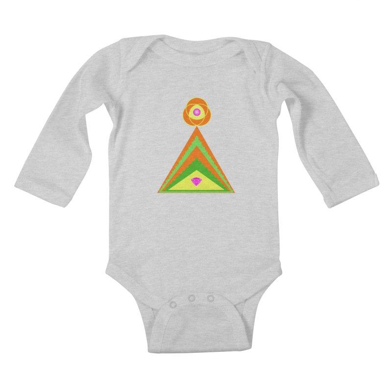 Diamond Pyramid Kids Baby Longsleeve Bodysuit by By the Ash Tree