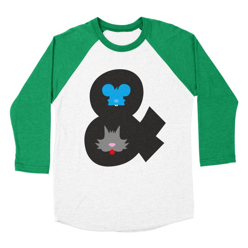 Cat & Mouse Women's Baseball Triblend T-Shirt by Byway Design