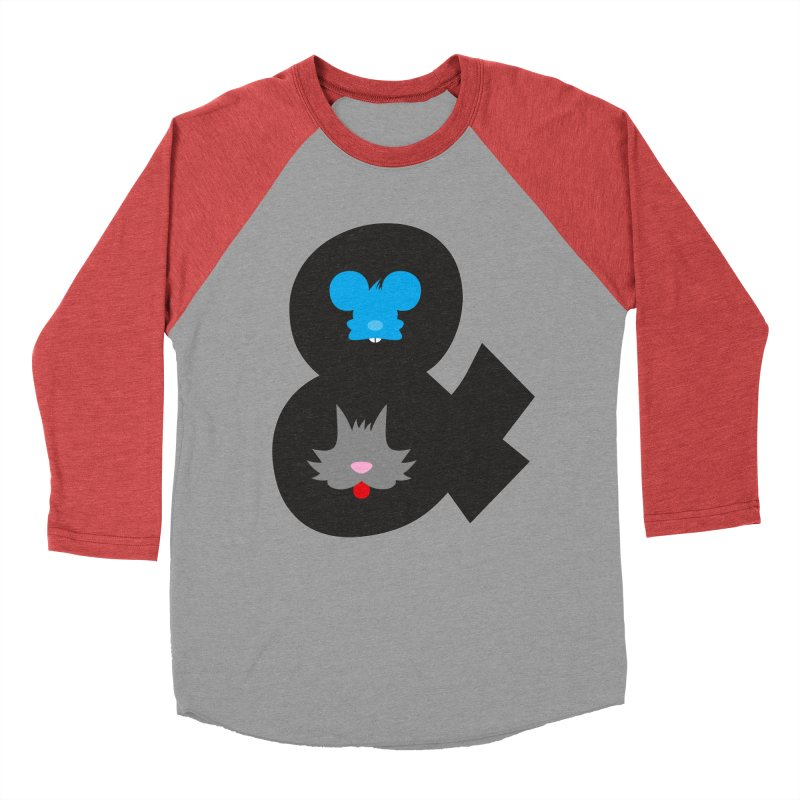 Cat & Mouse Women's Baseball Triblend Longsleeve T-Shirt by Byway Design