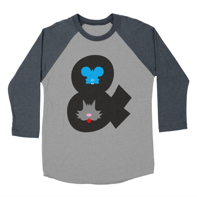 Cat & Mouse Men's Baseball Triblend T-Shirt by Byway Design