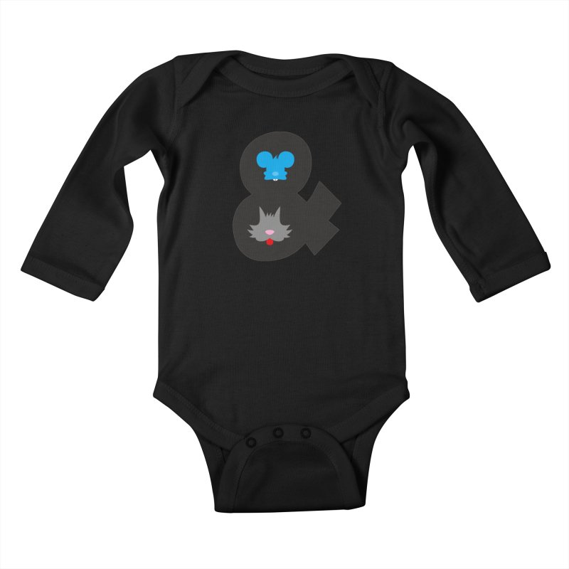 Cat & Mouse Kids Baby Longsleeve Bodysuit by Byway Design