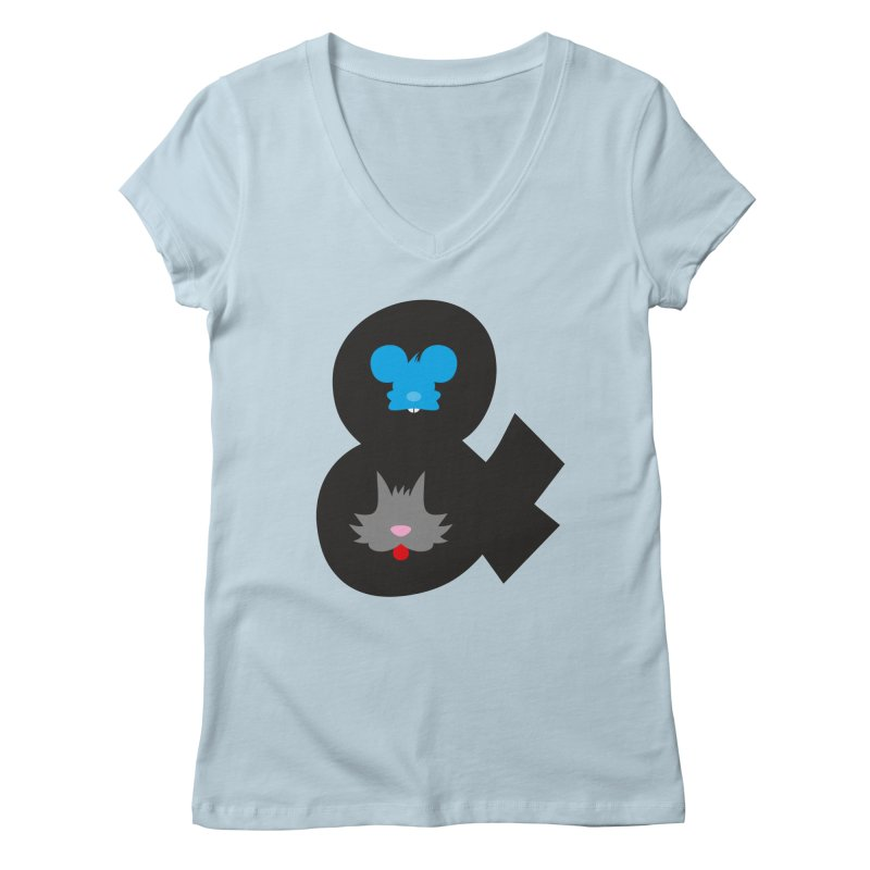 Cat & Mouse Women's V-Neck by Byway Design