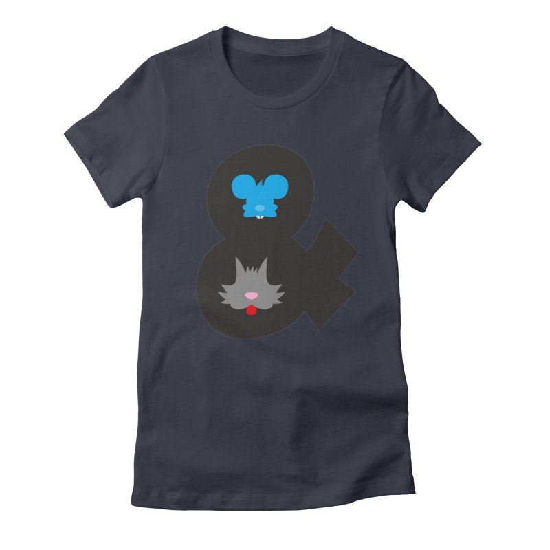 Cat & Mouse Women's Fitted T-Shirt by Byway Design