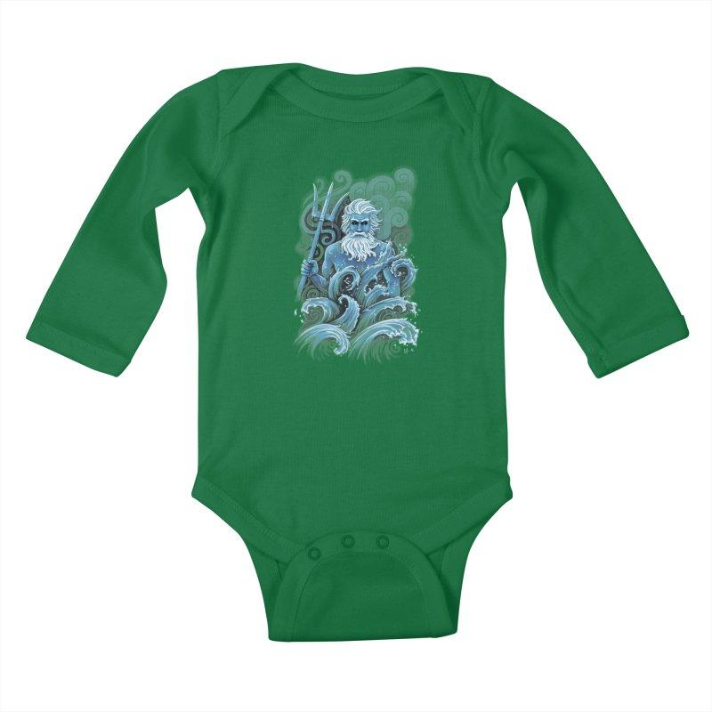 Poseidon Kids Baby Longsleeve Bodysuit by c0y0te7's Artist Shop