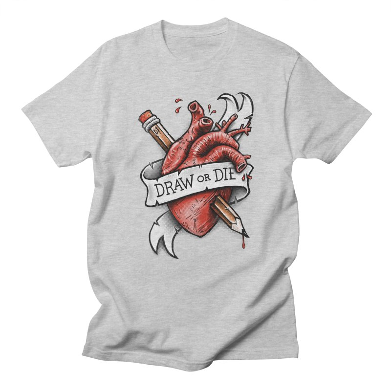 Draw or Die in Men's T-shirt Heather Grey by c0y0te7's Artist Shop