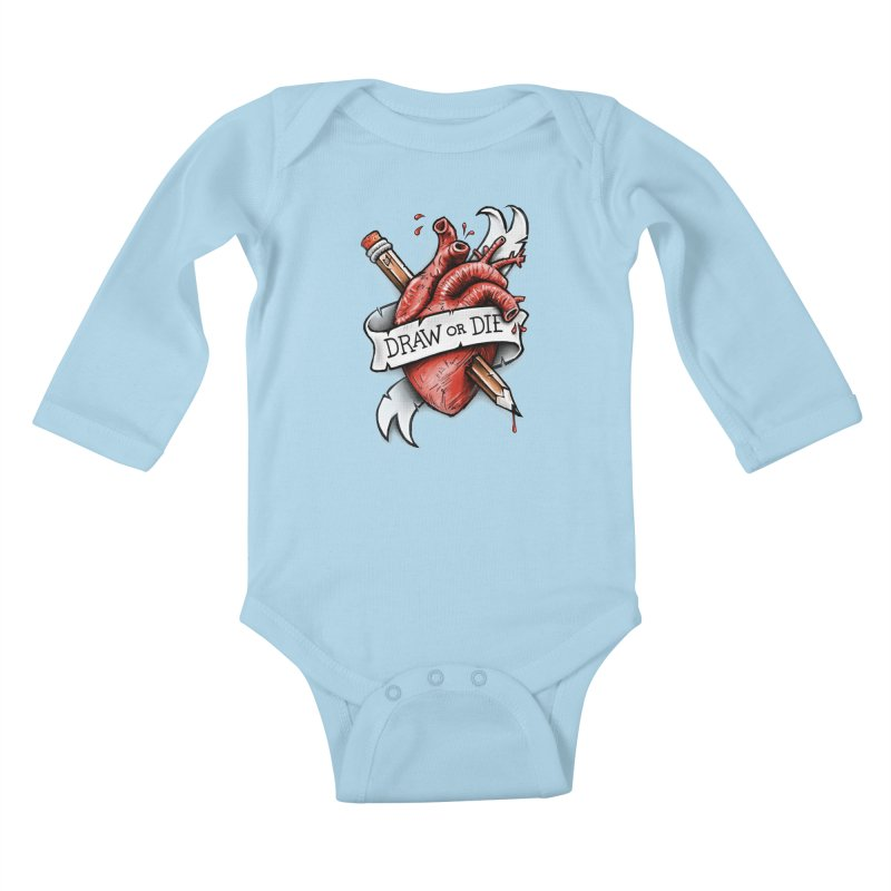Draw or Die Kids Baby Longsleeve Bodysuit by c0y0te7's Artist Shop