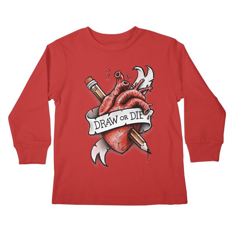 Draw or Die Kids Longsleeve T-Shirt by c0y0te7's Artist Shop