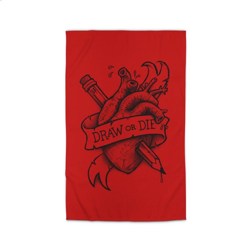 Draw or Die - Black Home Rug by c0y0te7's Artist Shop