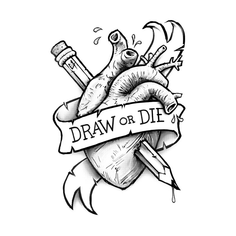 Draw or Die - Black Men's T-shirt by c0y0te7's Artist Shop