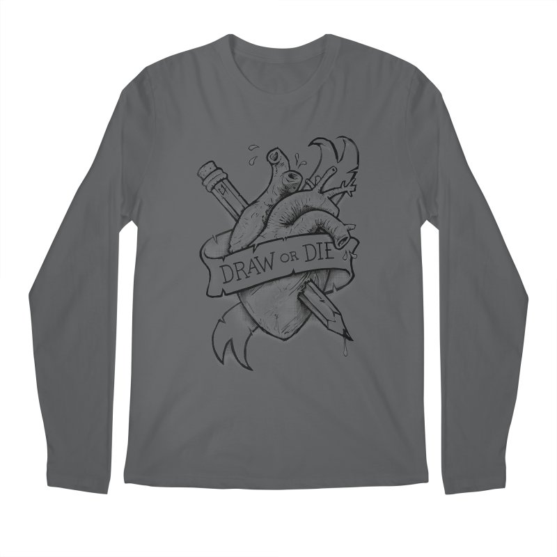 Draw or Die - Black Men's Longsleeve T-Shirt by c0y0te7's Artist Shop