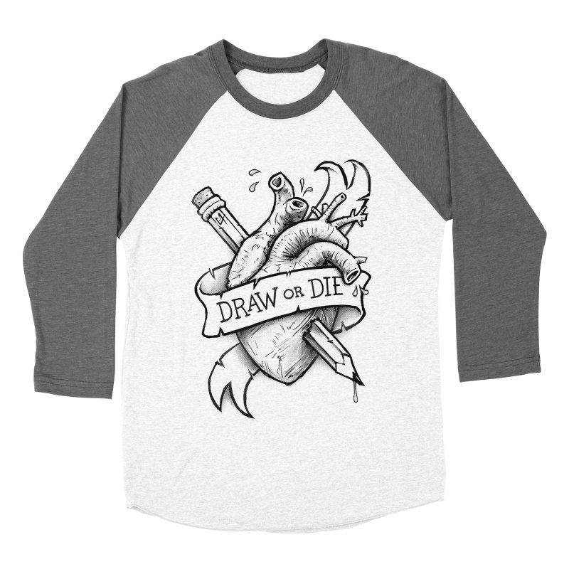 Draw or Die - Black Women's Baseball Triblend T-Shirt by c0y0te7's Artist Shop