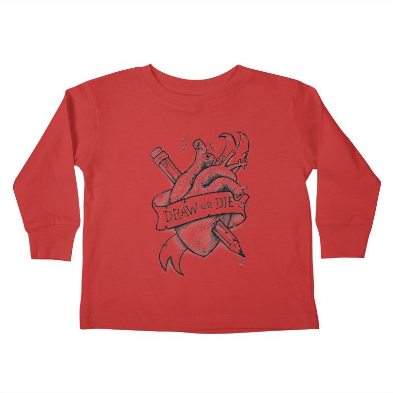 Draw or Die - Black Kids Toddler Longsleeve T-Shirt by c0y0te7's Artist Shop