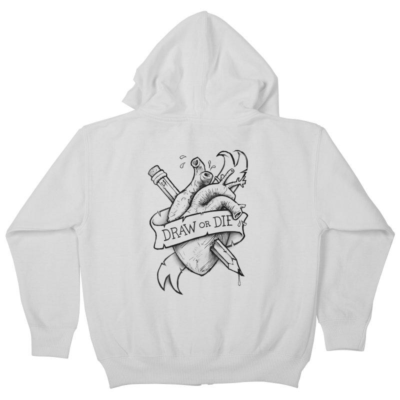 Draw or Die - Black Kids Zip-Up Hoody by c0y0te7's Artist Shop