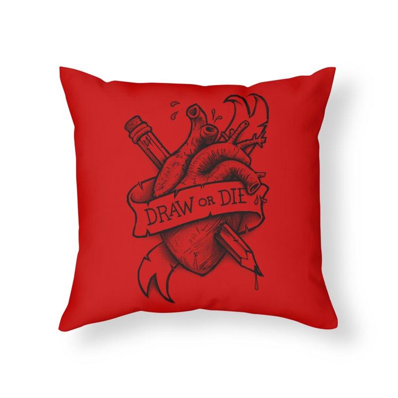 Draw or Die - Black Home Throw Pillow by c0y0te7's Artist Shop