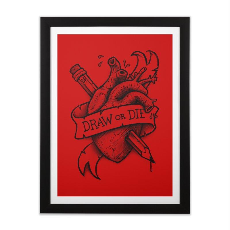 Draw or Die - Black Home Framed Fine Art Print by c0y0te7's Artist Shop