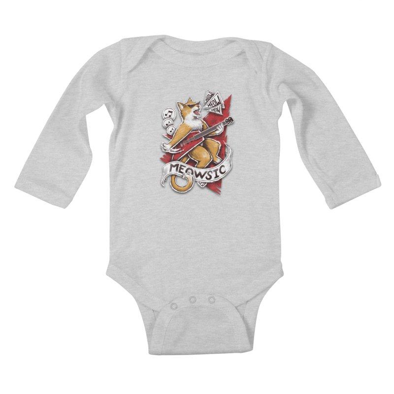 Meowsic Kids Baby Longsleeve Bodysuit by c0y0te7's Artist Shop