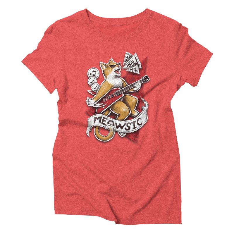 Meowsic Women's Triblend T-Shirt by c0y0te7's Artist Shop