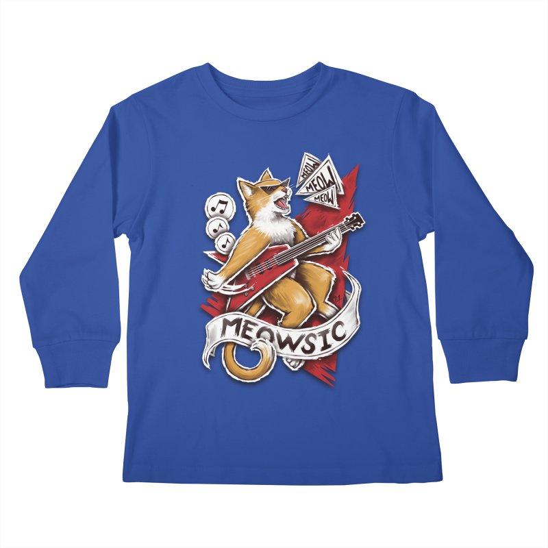 Meowsic Kids Longsleeve T-Shirt by c0y0te7's Artist Shop