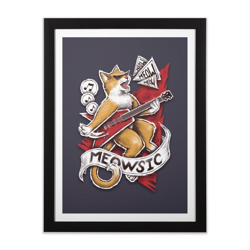Meowsic Home Framed Fine Art Print by c0y0te7's Artist Shop