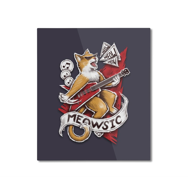 Meowsic Home Mounted Aluminum Print by c0y0te7's Artist Shop