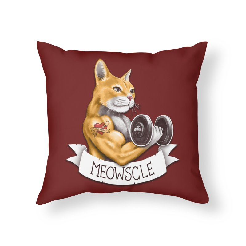 Meowscle Home Throw Pillow by c0y0te7's Artist Shop